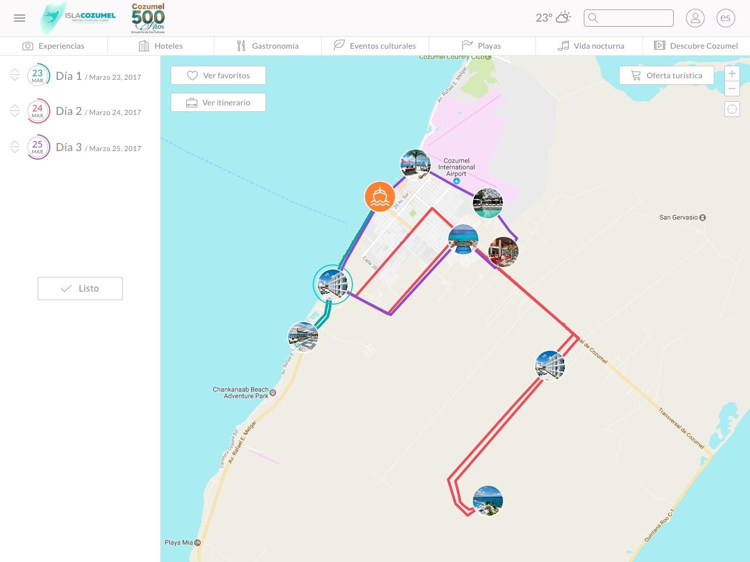 Mapa de Itinerario en Cozumel Smart Island