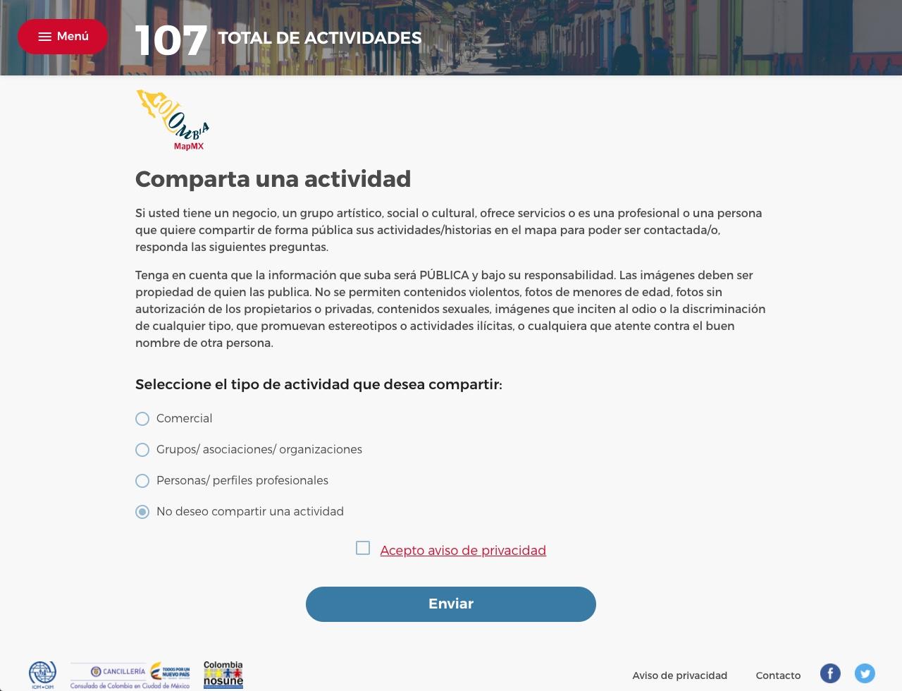 Comparte tu negocio, grupo artístico, social o cultural en el mapa colaborativo de la población colombiana en México.